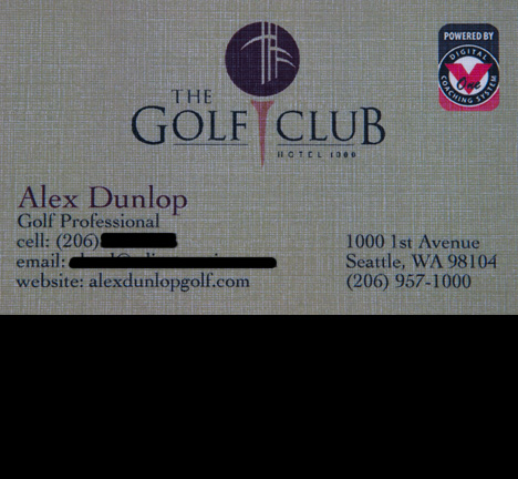 The Golf Club at Hotel 1000 Business Cards